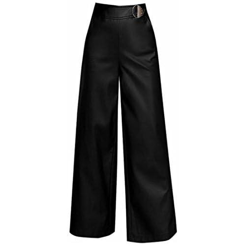 New GenericWomen Generic Women's Stylish Pocket Faux Leather PU High Waist Straight Wide Leg Pants hot sale