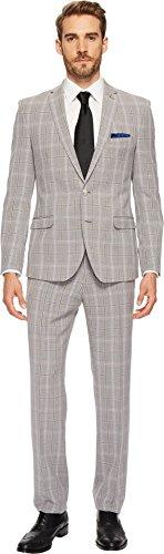 Nick Graham Suiting Men's Black & White Plaid Suit Black/White 46 Regular (White Plaid Suit)