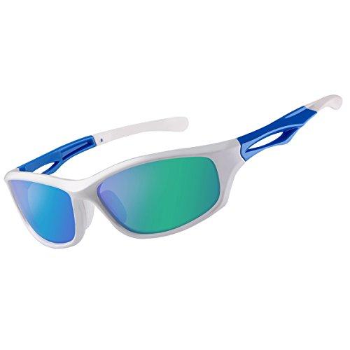 FEIDU Sport Polarized Sunglasses for Men Driving Cycling Men's Sunglasses FD 9014 (Green/White, - And Sunglasses White Green
