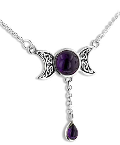 Sterling Silver Celtic Knot Triple Moon Phases Amethyst 17