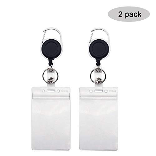 2Pack Round Retractable Badge Holders with Carabiner Reel Clip and Vertical Style Heavy Duty ID Card Holders By Cypes (Round Id Holder)