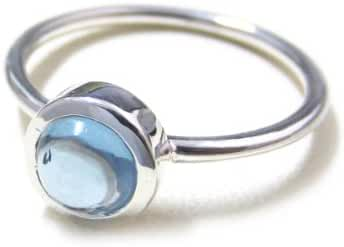 ZilverPassion Sterling Silver Stacking Ring Round 6mm Synthetic Aquamarine, March Birthstone (Size 2-15)