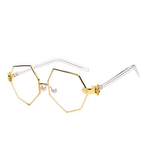 Oculos vidrios Se Femenina Sun luneta de Decoraci¨®n de Mujeres Amarillo Irregulares Las Sol ora Oro de Gafas de ¨²Nicas Cristales Zygeo tintados Claro Claro Nuevos Amarillo Palma Oro v1wHCC