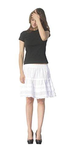 Creative Looks Womens' Junior Solid Ruffled Tiered Mini Skirt Small White