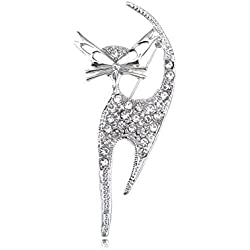 Alilang Silvery Tone Clear Crystal Colored Rhinestones Cat Kitten Cut Out Brooch Pin