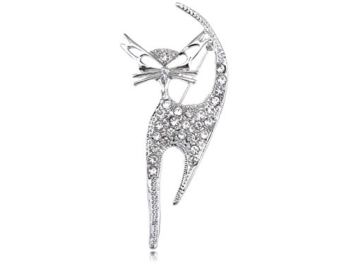 Kitten Brooch Pin (Alilang Silvery Tone Clear Crystal Colored Rhinestones Cat Kitten Cut Out Brooch Pin)