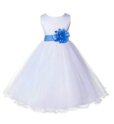(Wedding Pageant White Flower Girl Rattail Edge Tulle Dress 829s 4)