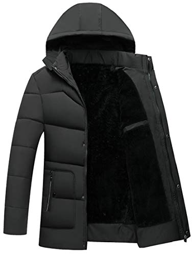 Jacket Lined Down Mens Coat Fur Thick Armygreen Front Hood Winter Warm TTYLLMAO Faux Zip Padded 17wqYxCCP
