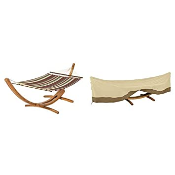 Classic Accessories Montlake FadeSafe Quilted Double Hammock with Heavy Duty Wood Stand, Heather Henna and Veranda Deluxe Framed Hammock and Stand Cover