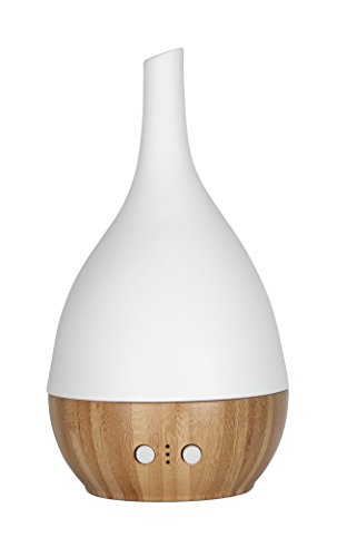 Aroma Essential Oil Diffuser, Scent and Fragrance Aromatherapy Humidifier - Now with Handmade Ceramic, Real Bamboo, Belgian modern Design, Timer, LED Light, Long Cord, Silent Fan by NORLAN