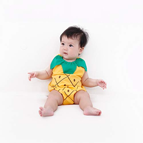 Newborn Boys Girls Jumpsuit, Infant Kids Baby Lovely Bodysuit Fruit Strawberry Pineapp Print Romper (0-6 Months, Yellow) by Hopwin Baby Boys Suits (Image #4)