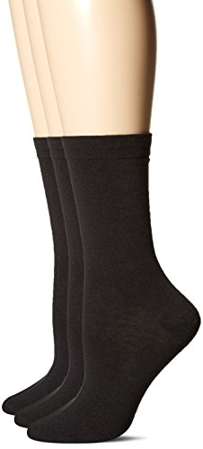 HUE Women's Pique Flat Knit Sock (Pack of 3), Black, One Size