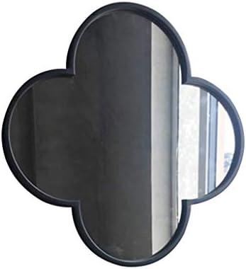 錬鉄化粧鏡屋内ベッドルームリビングルームの壁に取り付けられたブラックゴールド浴室装飾鏡 J1/11 (Color : Black)