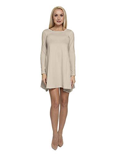 ABAKUHAUS Langärmlig A-Linien-Kleid mit Taschen für Damen