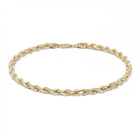 8 Inch 10k Yellow Gold Solid Diamond Cut Rope Chain Bracelet and Anklet for Men & Women, 2.5mm (Used 14k Gold Chain)