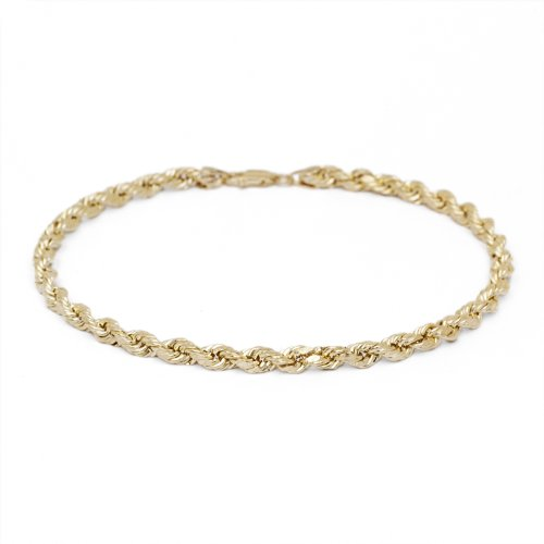 9 Inch 10k Yellow Gold Solid Diamond Cut Rope Chain Bracelet and Anklet for Men & Women, 4mm (0.16'') by SL Gold Imports