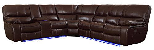 "Homelegance Pecos 105"" x 117"" Leather Gel Power Reclining Sectional with LED, Brown"