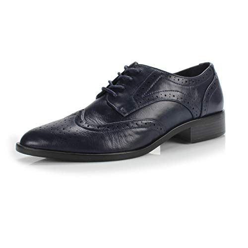 FOOTSELF DUNION Berry Women's Classic Comfortable Perforated Brogue Low Heels Casual Oxford Daily Shoe,Berry Navy,6 M US (Perforated Leather Slip)