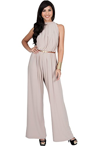 KOH KOH Petite Womens Sexy Sleeveless Halter-Neck Wide Leg Pants Cocktail Overall Long Work Day Suit Pant Suits Pantsuit Playsuit Jumpsuit Jumpsuits Romper Rompers, Tan Light Brown S 4-6 by KOH KOH