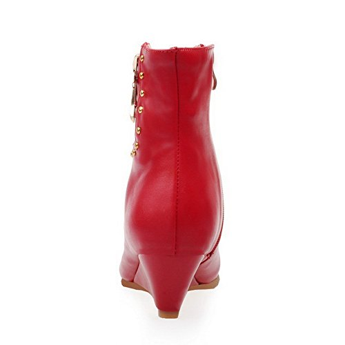 Boots Zipper Low Pointed WeenFashion Material Soft Closed Kitten Red Women's Toe Top Heels qzUP4UF