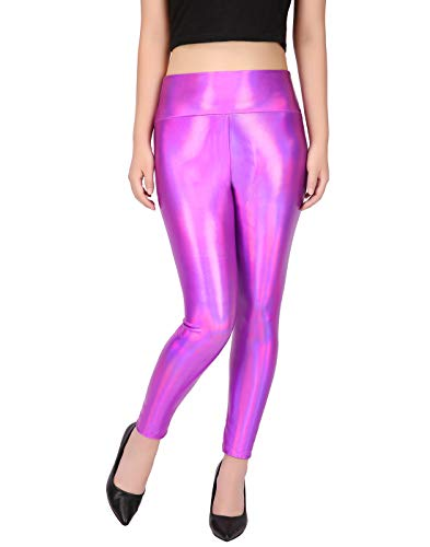 HDE Women's Shiny Holographic Leggings Liquid Metallic Pants Iridescent Tights (Fuchsia, -
