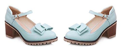 Aisun Donna Dolce Punta Tonda Abito Fibbia Décolleté Tacco Medio Pompe Con Cinturini Alla Caviglia Blu 2