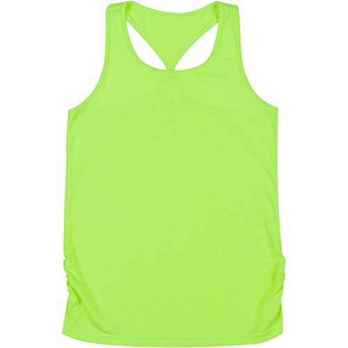 New Balance Big Girls' Athletic Tank Tops, Lime Glo, 14