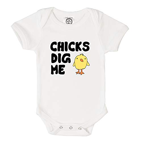 - The Spunky Stork Chicks Dig Me Organic Cotton Easter Baby Bodysuit (6-12M) White