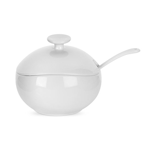 (Portmeirion Ambiance Covered Sugar/Conserve Pot with Spoon, Pearl White)