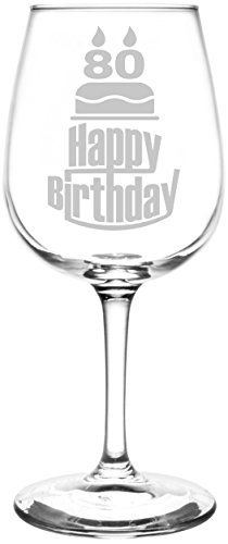 80th Happy Birthday Cake Wine Glass