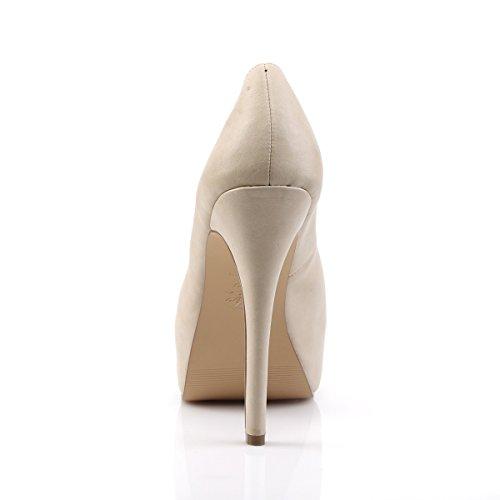 Pin Up Couture Damen Plateau Peep Toe Pumps Bella-30 tan Tan
