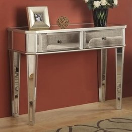 Powell Mirrored Console with Silver Wood ()