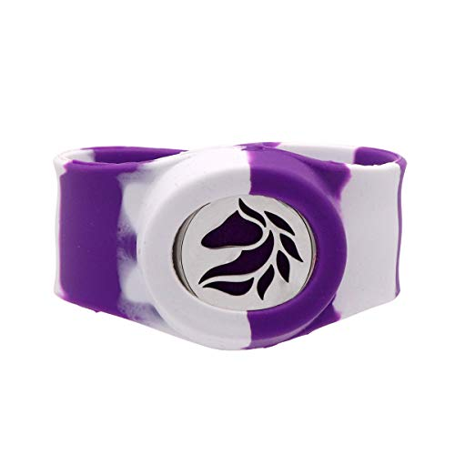 NewStar Halloween Zebra Bracelet Essential Oil Charms Slap Bracelets Rubber Silicone Stripe Bangles for Mens and Women-Purple