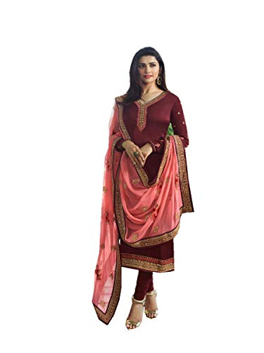 Pakistani Fashion Designers - Delisa Ready Made New Designer indian/pakistani fashion salwar kameez for women VF (X LARGE-44, Maroon)