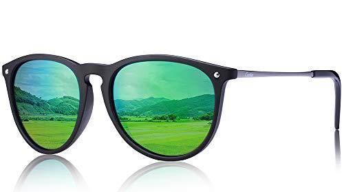 Carfia Vintage Polarized Sunglasses for Women Men, 100% UV400 Protection (Green -