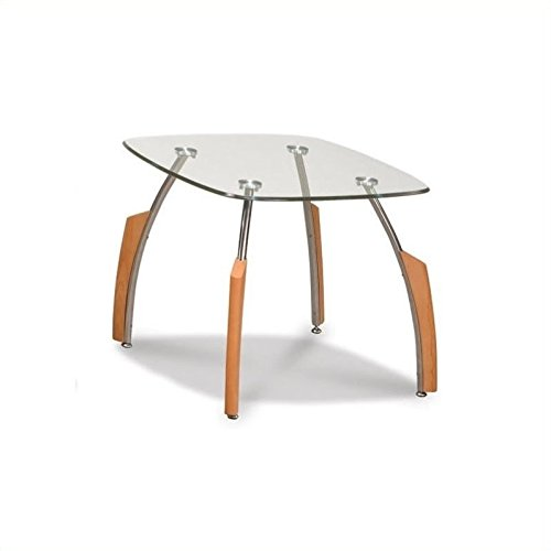 Cheap Global Furniture Clear/Silver Occasional End Table with Beech Legs
