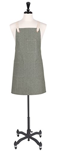 KAF Home Tailor Collection Classic Bib Apron, Chambray, One Size, 100% Cotton