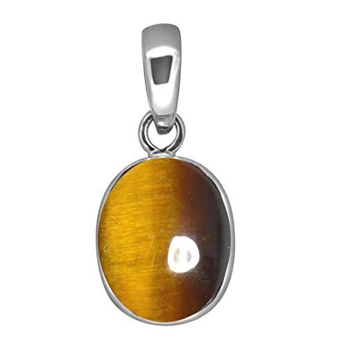 (55Carat Brand Tiger's Eye Natural Simple Pendant 6 Carat Oval Shape Gemstone Sterling Silver Locket Charm)