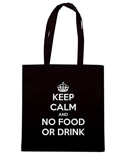 Borsa Shopper Nera TKC2830 KEEP CALM AND NO FOOD OR DRINK