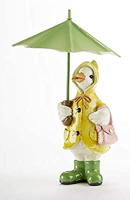 "Delton Products Duck With Umbrella 4.3 Inches x 7.1"" Inches Resin Collectible Figurines Multicolor"