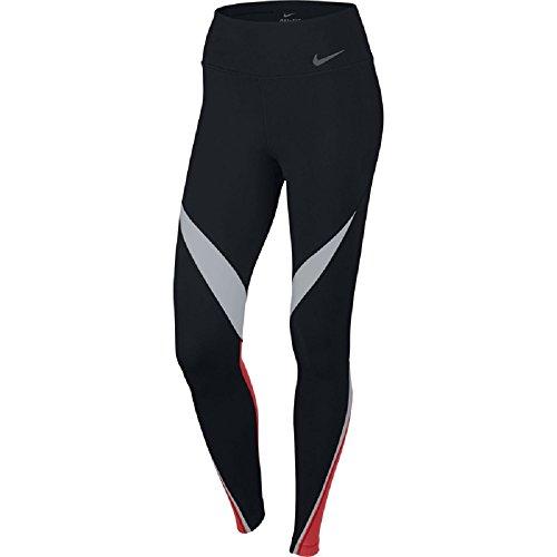 Nike Womens Dri-Fit Legendary Fabric Twist Veneer Training Tights 724963-451 (Large, Black/White/Light Crimson/Black)