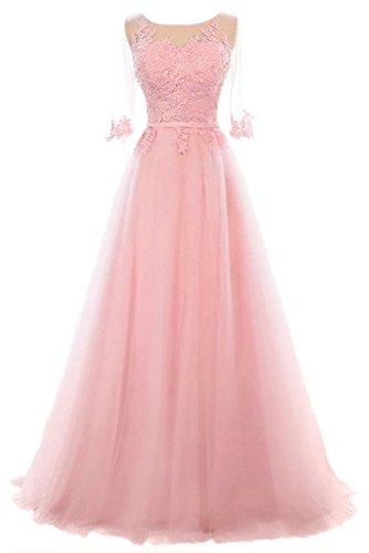 Vickyben Damen A-Linie langes Schnuerung Prinzessin Tuell Abendkleid Ballkleid brautjungfer Cocktail Party kleid pink tief