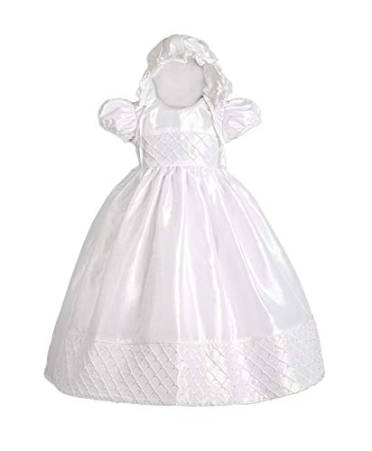 - Dressy Daisy Baby Girls' Beaded Baptism Christening Dresses Gown with Bonnet Infant Size 0-1M White