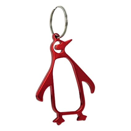 Penguin Keyring Red Bottle Opener Novelty Colour Metal Keychain