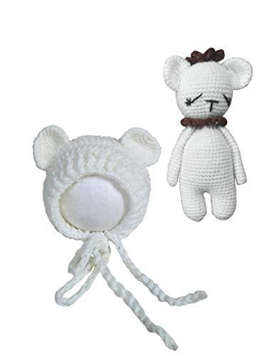 Jastore Infant Newborn Photography Prop Photo Crochet Boys Girls Knit Toy Bear Hats (Bear-white Coffee Crown)