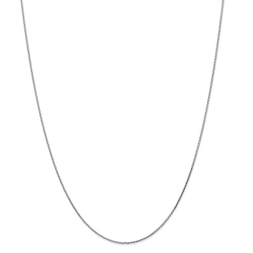 Solid 14k White Gold 1.0mm Round Diamond-Cut Wheat Chain Necklace 18