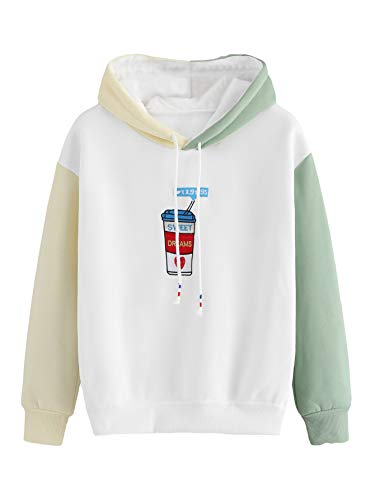 MAKEMECHIC Women's Long Sleeve Colorblock Graphic Cute Hoodie Pullover Sweatshirts White - Graphic Hoodie Embroidered