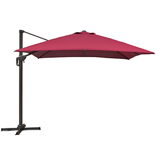 Aluminum Tilt Offset Umbrella - Snail 10 x 10 Square Offset Cantilever Patio Umbrella with 360 Degree Rotation, Aluminum Crank Lift Tilt & Lock, 250 gsm UV-resistant Polyester, Red