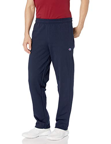 Champion Men's Powerblend Open Bottom Fleece Pant, Navy, M