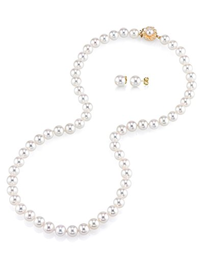 THE PEARL SOURCE AAA Quality 8-9mm Round White Freshwater Cultured Pearl Necklace & Earrings Set with 14K Yellow Gold Flower Clasp for Women by The Pearl Source
